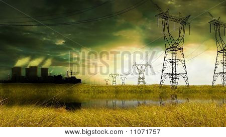 energy factory in yellow field