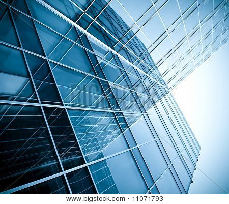 square side of pane in business center in blue colors