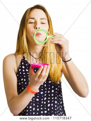 Party Guest Blowing Bubbles Of Congratulations