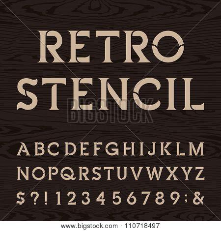 Retro alphabet vector stencil font.