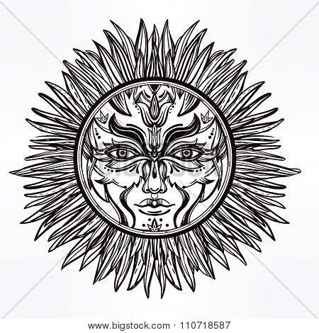 Ornate romantic pagan sun symbol .