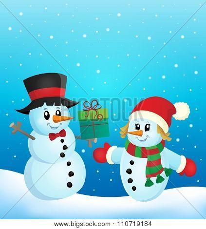 Christmas snowmen theme image 2 - eps10 vector illustration.