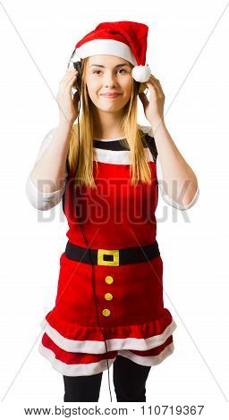 Cute Christmas Girl Listening To Holiday Music