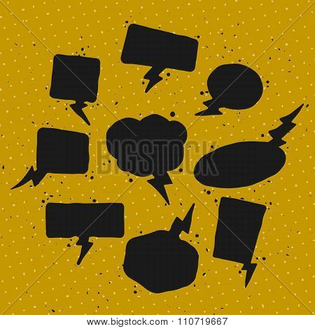 A set of dark speech bubbles and elements on colorful background.