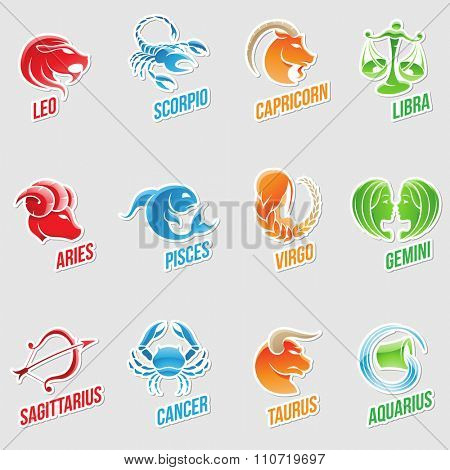 Vector Illustration of Zodiac Star Signs with Sticker like Designs