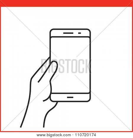 Touch screen gestures icon for smartphone. Simple outlined vector icon for a mobile app user interface or manual. Smartphone gesture icon in linear style