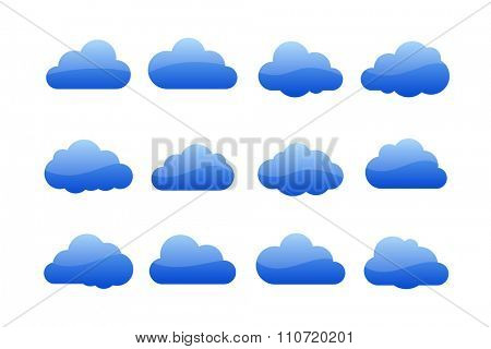 Vector illustration of clouds collection. Cloud icons for web or desktop application