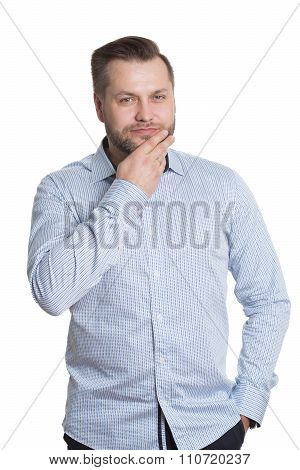 adult male with a beard. isolated on white background. Body language. non-verbal cues. training mana