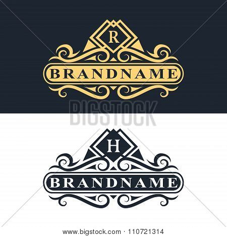Monogram Design Elements, Graceful Template. Calligraphic Elegant Line Art Logo Design Letter Emblem