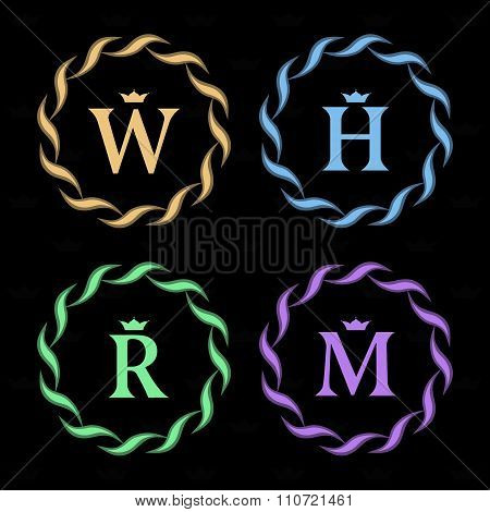 Monogram Design Elements, Graceful Template. Elegant Line Art Logo Design. Letter R, W, H, M. Retro