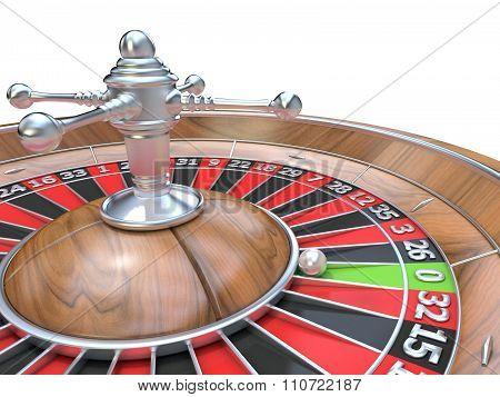 Roulette wheel. 3D render. Detail on zero green pocket