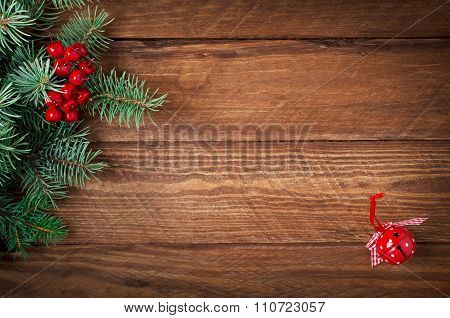 Jingle Hand Bell On Wooden Background