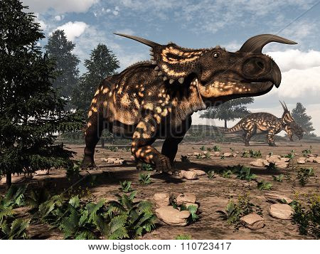 Einiosaurus dinosaurs in the desert - 3D render