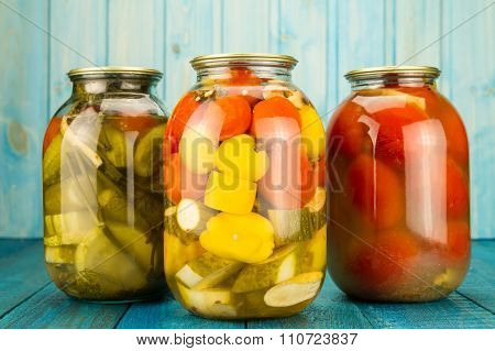 Jars Of Pickled Vegetables. Marinated Food.  Diet, Vegetarianism, Healthy Food