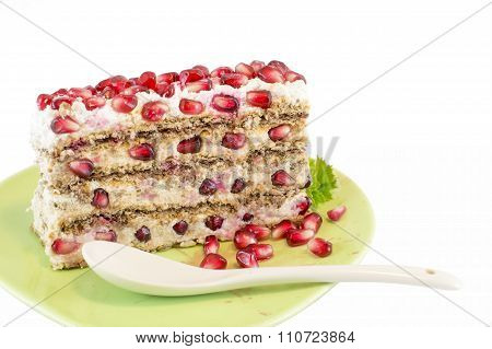 Pomegranate Fruit Cake Isolated]