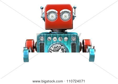 Retro Robot With Blank Board. Isolated. Contains Clipping Path