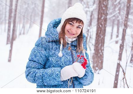 Pregnant Girl Woman In Winter Forest