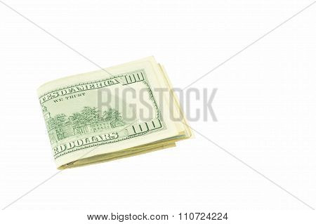 Stash Of American Dollar Banknotes Isolated