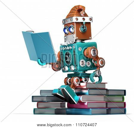 Robot Santa Reading Books. Isolated. Contains Clipping Path