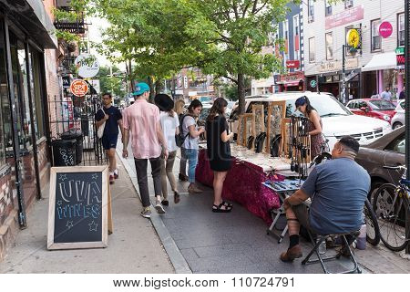 WILLIAMSBURG BROOKLYN, UNITED STATES - JUNE 21, 2015: Williamsburg is attributed to be the place of origin of electroclash, and has a large local art community and hipster culture.