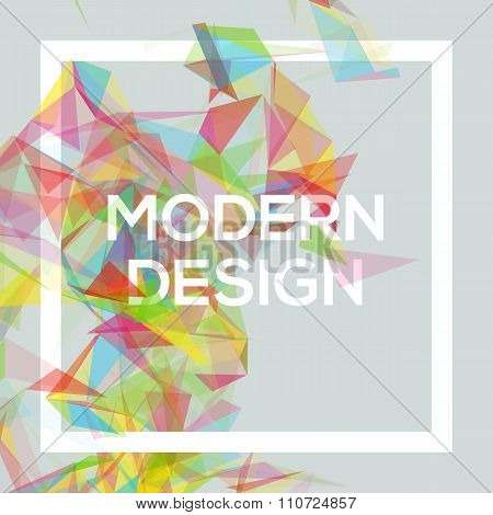 Geometric Poster Template with transparent polygons, lines, connecting nodes. Cool shades, vector de