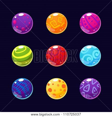 Colorful Glossy Stones and Buttons with Sparkles. Vector Illustration