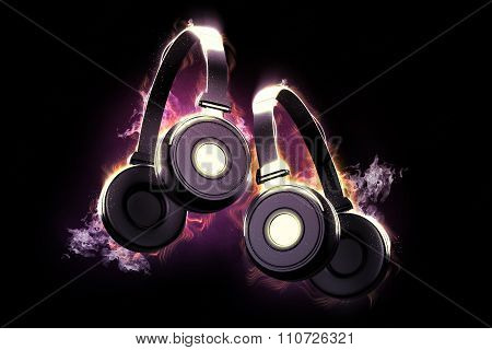 Flaming Headphones. Musical Concept