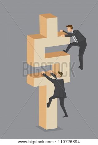 Businessmen Climbing On Dollar Sign Vector Illustration