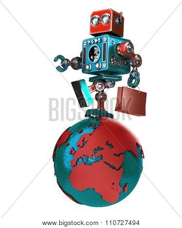 Retro Robot With Shopping Bag Walking Around The Globe. Isolated. Contains Clipping Path