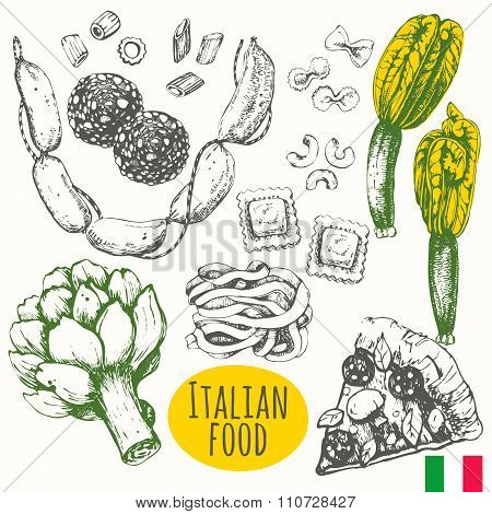 Italian food in the sketch style. Mediterranean traditional products.