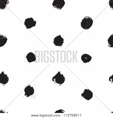 Vector Seamless Pattern With Ink Polka Dot