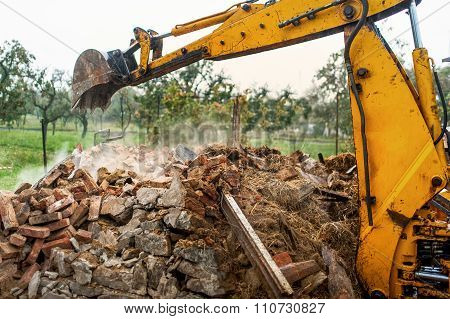 Bulldozer And Excavator Working On Construction Site