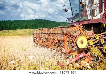 Close-up Of Harvesting Combine In Wheat Crops, Agricultural Industry