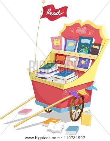 Illustration of a Fancy Cart Filled with a Wide Assortment of Books
