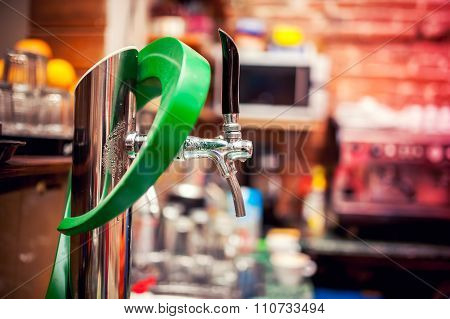 Beer Tap In Restaurant Or Pub Used For Draught Beer