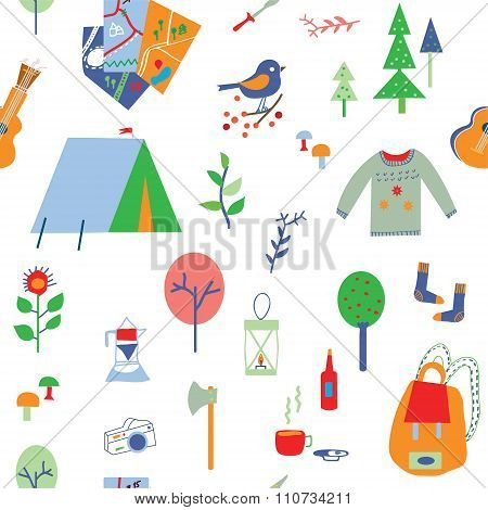 Travel And Camping Seamless Pattern With Many Icons