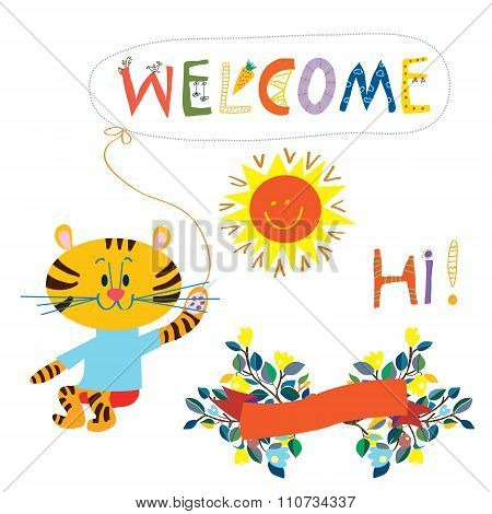 Welcome Card Elemenent For The Baby - Cute Animal, Flowers And Sun