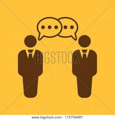 The negotiations icon. Debate and dialog, discussion, conversations symbol. Flat