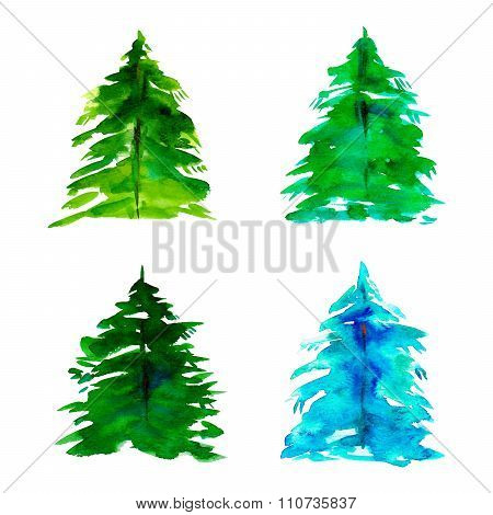 Hand Drawn Watercolor Fir Tree For Christmas Card Set Of Four