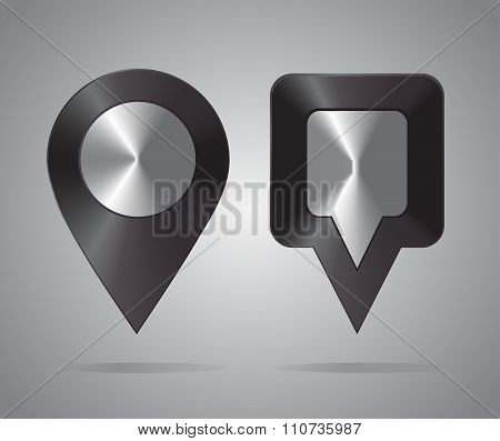 Shiny metal location icons. Map Pointers. Round and square shape
