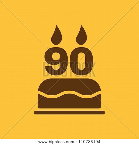 The birthday cake with candles in the form of number 90 icon. Birthday symbol. Flat