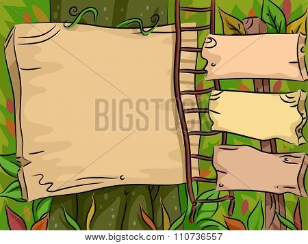 Illustration of Blank Wooden Boards Tacked to Trees in the Jungle