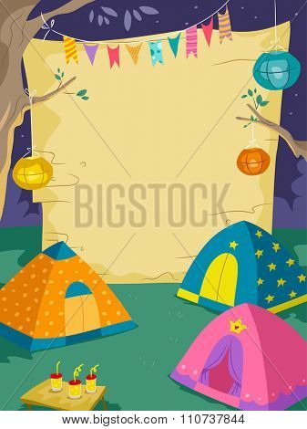Illustration of a Camp Site with a Giant Board Standing Behind Tents