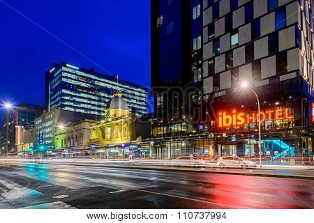 Ibis Hotel Adelaide With Taxis At Night