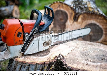 Gasoline Powered Professional Chainsaw On Pile Of Cut Wood, Timber wood