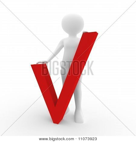 3D Human With Big Positive Symbol