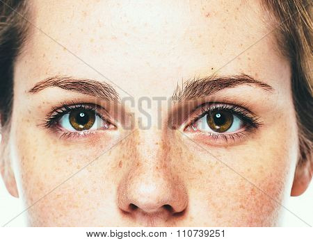 Eyes Woman Freckle Happy Young Beautiful Studio Portrait With Healthy Skin