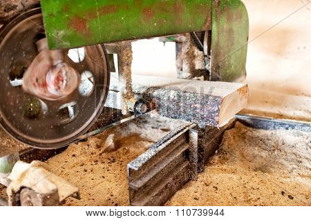 Industrial Wood Production Factory - Close-up Of Industrial Sawmill
