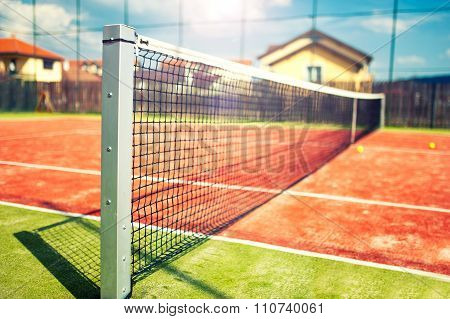 Tennis Court, Close-up Of Net On A Sunny Summer Day