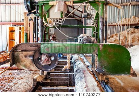 Industrial Wood Production Factory - Bandsaw Sawmill Being Used